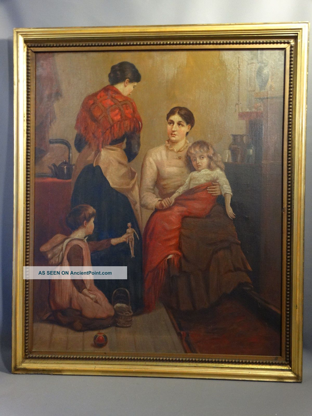 19thc Antique Victorian Lady Doctor Sick Child Homeopathic Medicine Oil Painting Other Medical Antiques photo