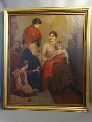 19thc Antique Victorian Lady Doctor Sick Child Homeopathic Medicine Oil Painting photo