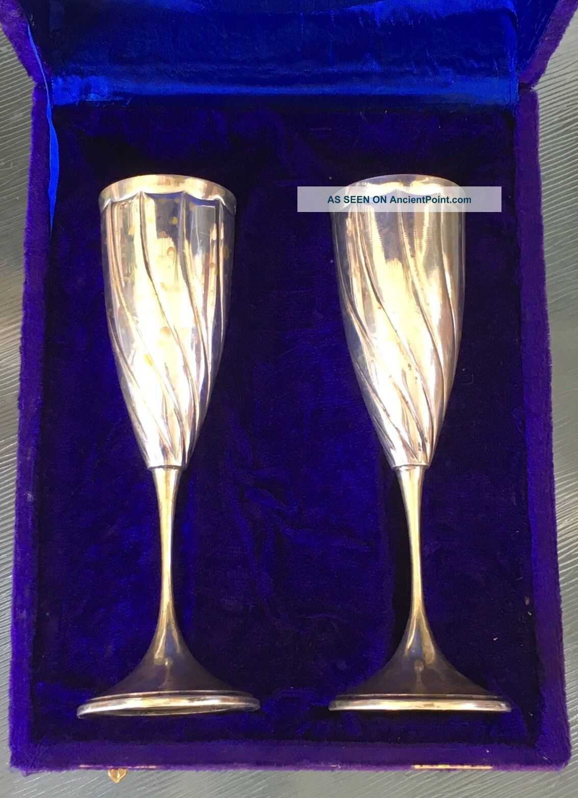 1940c Lav A Mano Handmade 800 Sterling Silver Goblet Pair Gold Wash,  Velvet Box Unknown photo