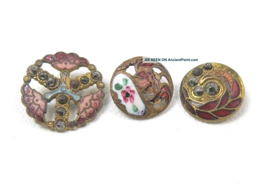 3 Antique Enamel Buttons Flowers Pierced Champleve Cut Steel Buttons photo