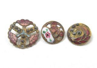 3 Antique Enamel Buttons Flowers Pierced Champleve Cut Steel photo