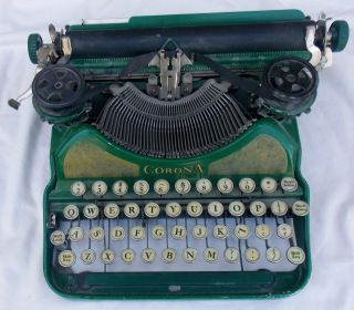 Vintage 1920 ' S L C Smith & Corona Green Typewriter photo