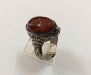 Men ' S Carnelian Ring Size 10 Old Engraved Near Eastern Vintage Afghan Filigree photo