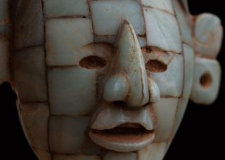 Pre Columbian Mayan Mosaic Stone Mask - Antique Statue - Olmec Mayan photo