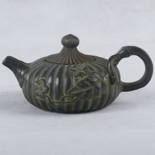 Chinese Bronze Handwork Carved Flower & Cover Teapot W Qianlong Mark Qt038 photo