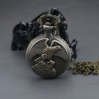 Oriental Vintage Collectible Handwork Eagle Brass Pocket Watch photo
