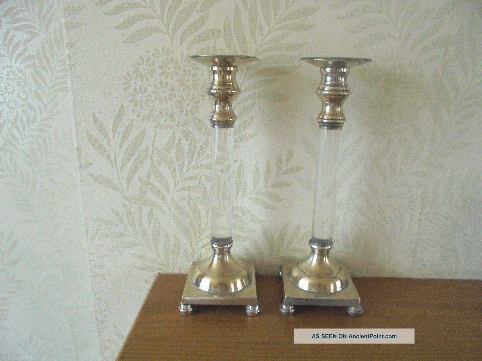 Silver Plated & Glass Candlesticks Candlesticks & Candelabra photo