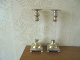Silver Plated & Glass Candlesticks photo