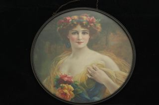 Vintage Victorian Woman Roses And Ribbon In Hair Portrait Flue Cover photo