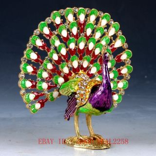 Chinese Cloisonne Hand Painted Peacock Statue Box Jtl043 photo
