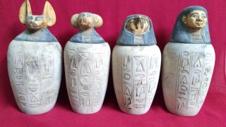 4 Ancient Egyptian Canopic Jars (990–969 Bc) photo