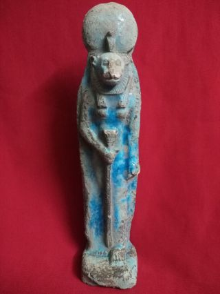 Ancient Egyptian Ushabti Of God Sekhmet (1390 - 1352 B.  C) photo