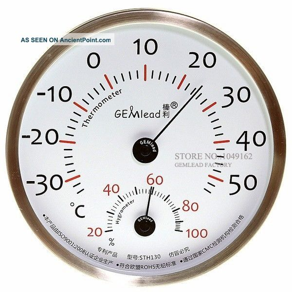 Indoor Outdoor 130mm Thermometer Hygrometer Stainless Steel High Accuracy Ship Equipment photo