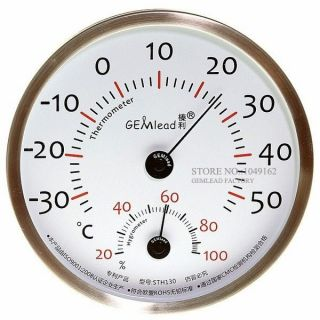 Indoor Outdoor 130mm Thermometer Hygrometer Stainless Steel High Accuracy photo
