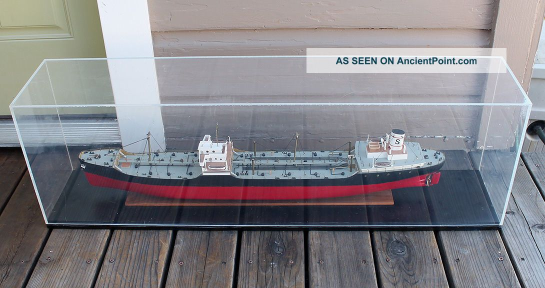 Antique Vintage Wooden Boardroom Model Standard Oil Freighter Tanker Steam Ship Model Ships photo