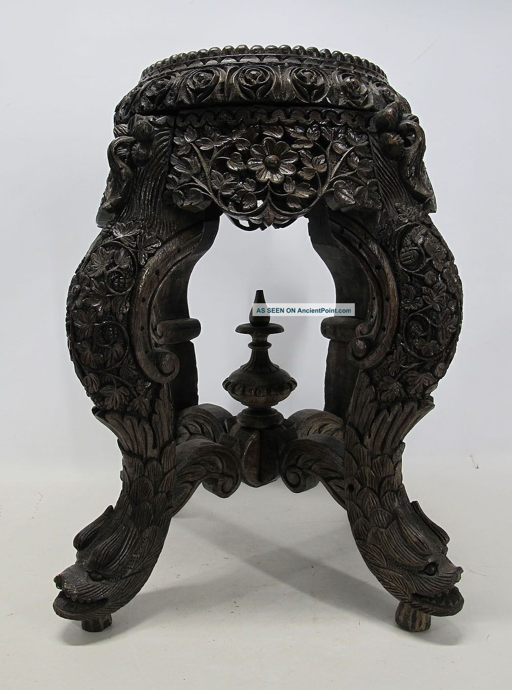 Anglo Indian Carved Teak Export Victoriana Plant Vase Fern Stand Dolphins Nr Yqz 1800-1899 photo