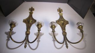 1 - Pair Large Antique Brass Crystal Candle Wall Sconces From 1900 ' S photo