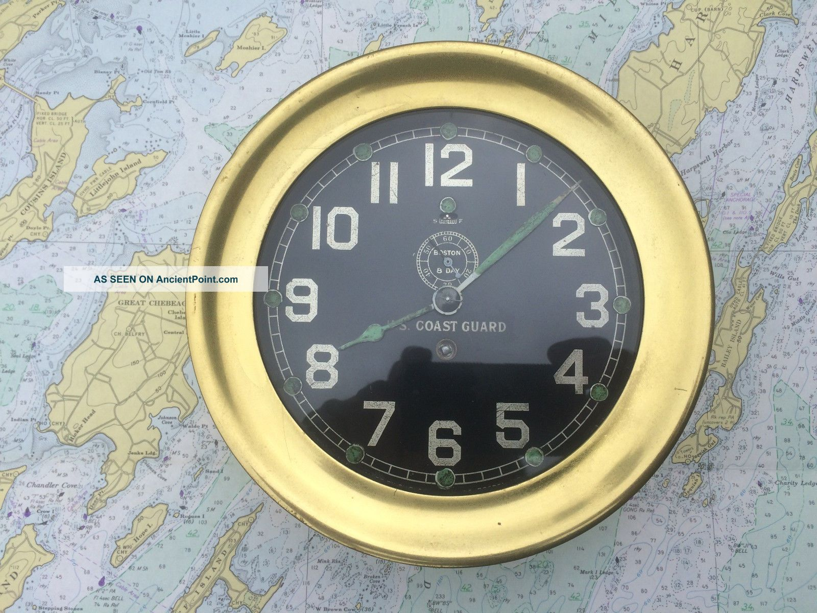 Chelsea 8 Day Vintage U.  S.  Coast Guard Brass Ships Clock Maritime Ww2 Ww1 Clocks photo
