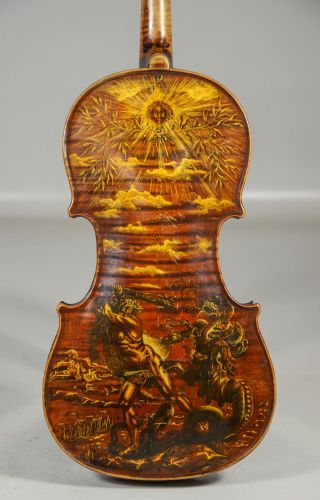 Antique 1830s Jean Remy Violin Painted Hercules Hydra Style Of William Blake Yqz photo
