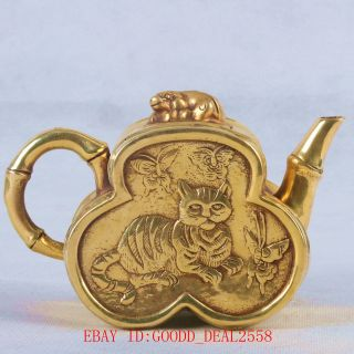 Chinese Brass Handwork Carved Mandarin Duck Teapot W Qianlong Mark Qt052 photo