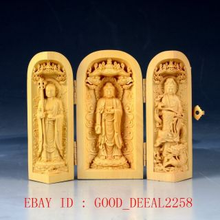 Chinese Boxwood Hand Carved Three Gods Folding Box photo