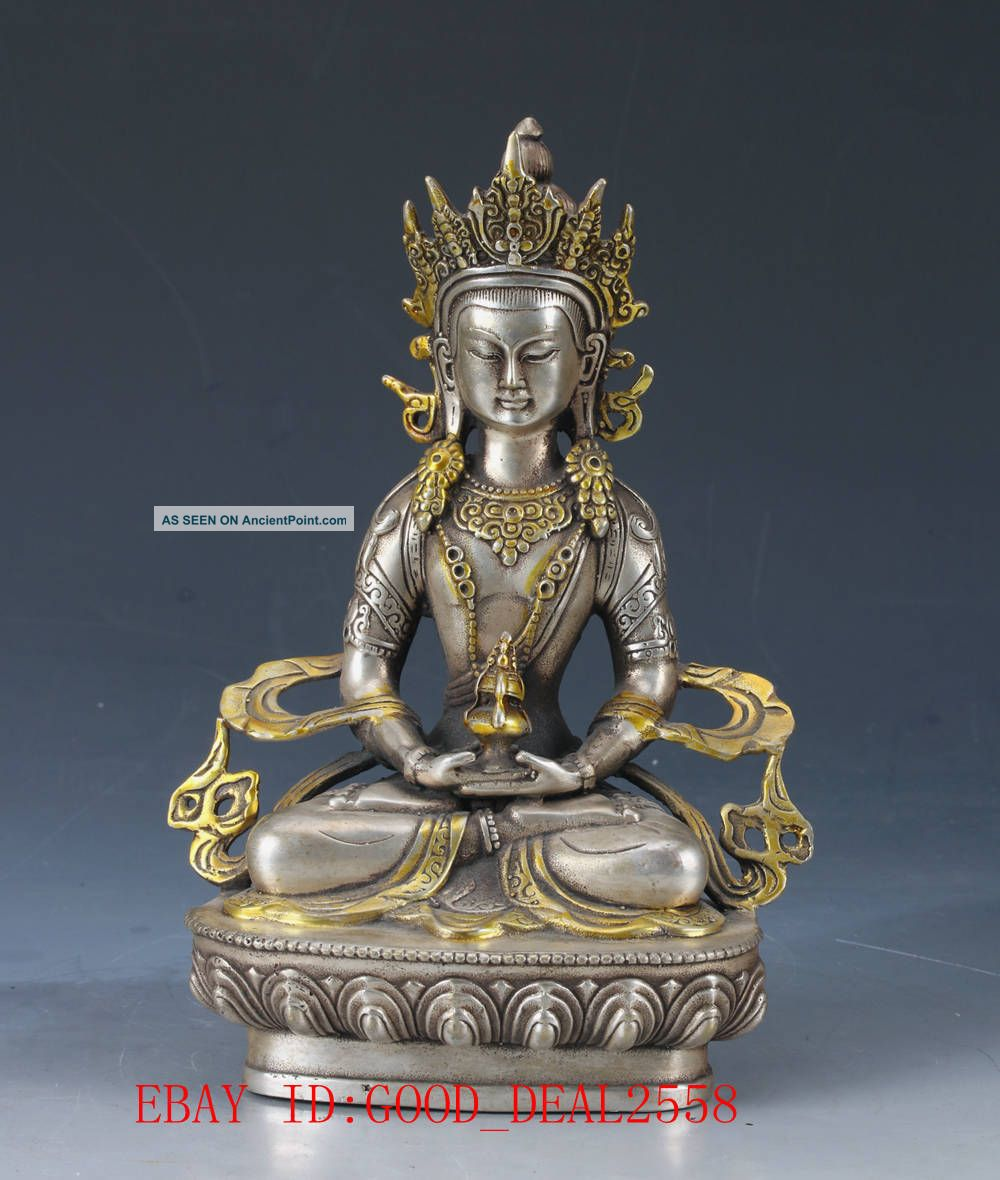 Chinese Silver Copper Hand Carved Gold - Plated Buddhist Statue Of Buddha Fx09 Buddha photo