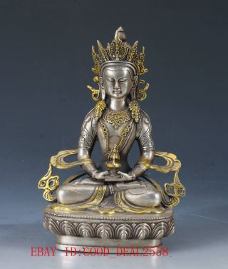 Chinese Silver Copper Hand Carved Gold - Plated Buddhist Statue Of Buddha Fx09 photo