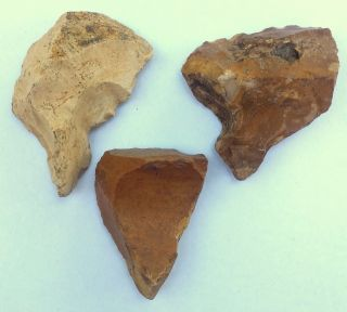 3 Flint Stones Acheulean Borer Nosed Hand Axe Neanderthal Paleolithic Tool photo
