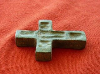 Ancient Byzantine Bronze Cross 45 Mm,  Intact,  Thick And Heavy,  Engravings photo