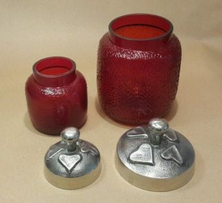 Vintage Red Glass Arts & Crafts Style Pots Bottle Metal Lids Textured Red Glass photo
