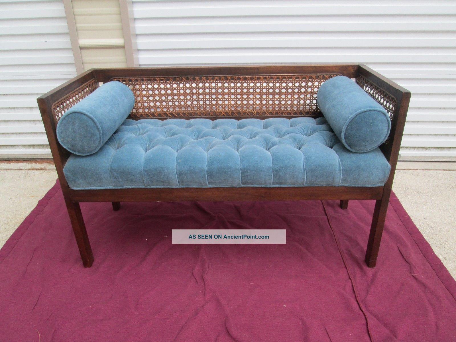 Mid Century Modern Hollywood Regency Cane Side Tufted Upholstered Bench Mst C Post-1950 photo