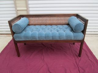 Mid Century Modern Hollywood Regency Cane Side Tufted Upholstered Bench Mst C photo