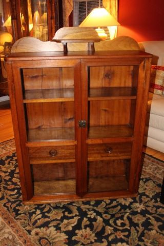 Antique Display Case/bookcase/cabinet Glass Doors Early 1900 ' S photo