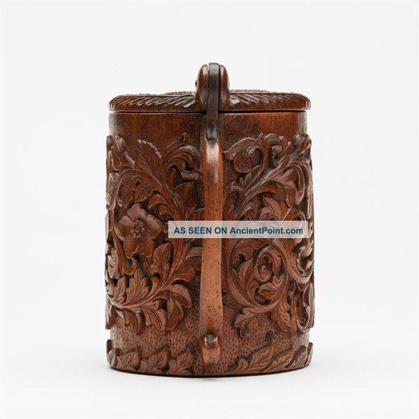 Finely Carved Antique Scandinavian Wood Peg Tankard 18/19 C Scandinavian photo