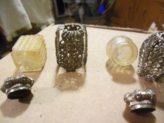 2 Antique Perfume Bottles W/ Fancy Metal Cozys & Caps Like Royal Crowns photo