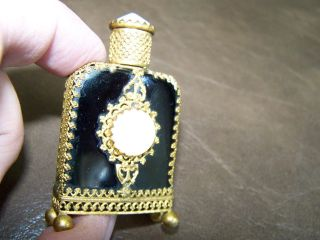 Antique Viennese Austrian Miniature Black Glass & Shell Footed,  Perfume Bottle photo