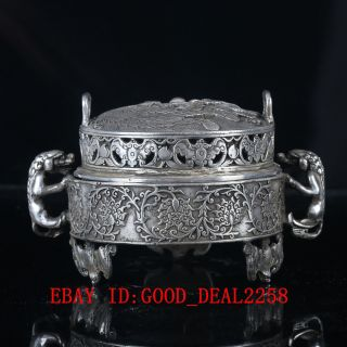Chinese Crusted Silve Copper Handwork Carved Hollow Out Dragon Incense Burner photo