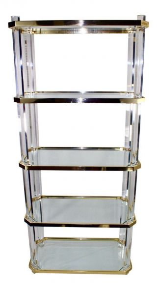 Vintage Lucite Etagere - Brass With Glass Shelves photo