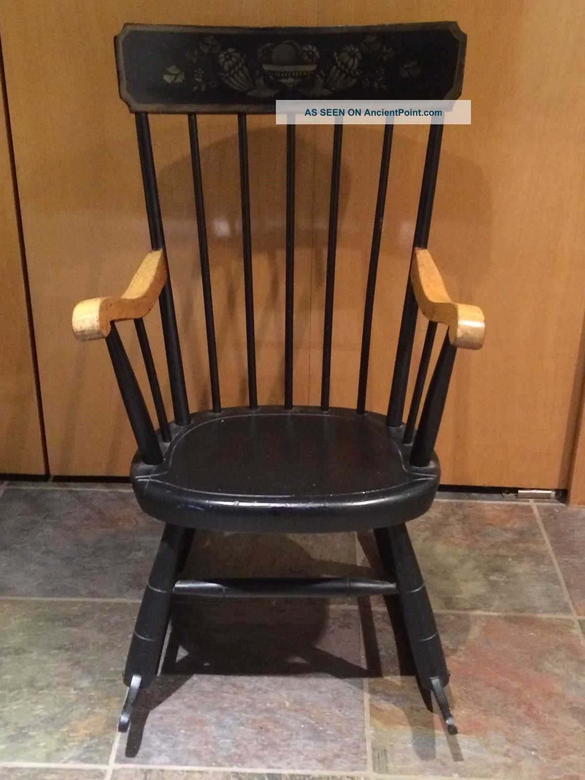 For Pick Up Only Child ' S Vintage Rocking Chair Oak Hill Fitchburg,  Mass Made Usa Post-1950 photo