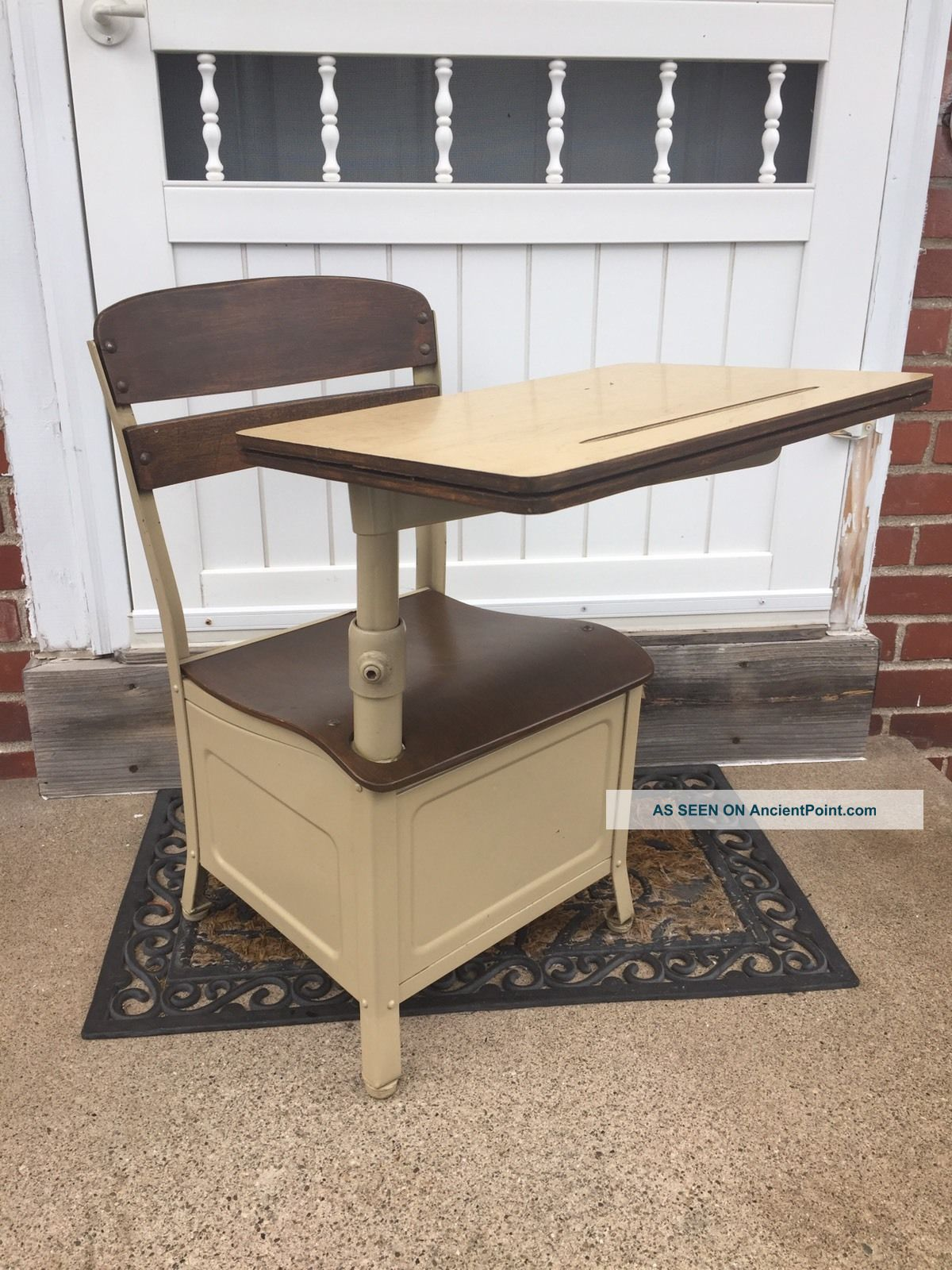 Vintage Irwin Childs Wood Amp Metal School Desk W