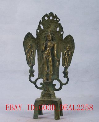 Chinese Bronze Gilt Handwork Carved Buddha Statues Qt065 photo