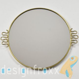 Brass Framed Mirror Tray Gio Ponti Style Mid Century Modern Hollywood Regency photo
