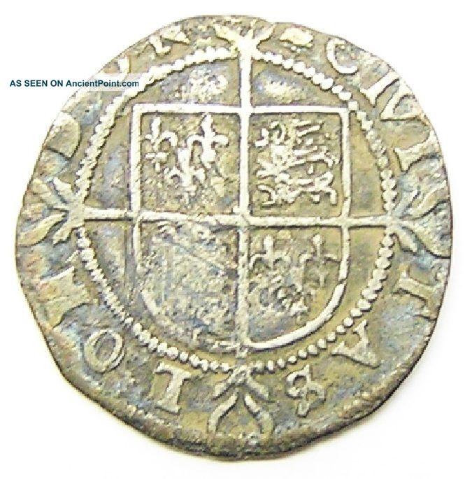 Tudor Silver Halfgroat Of Queen Elizabeth I Mm Bell C.  1582 - 1583 A.  D. British photo