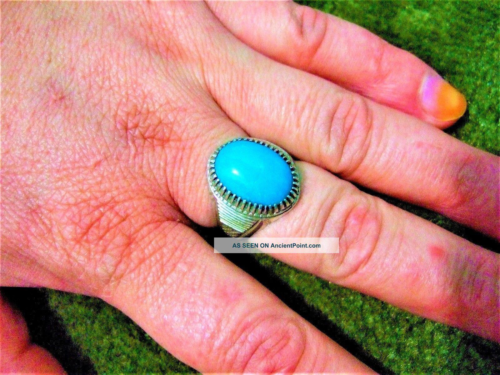Sterling Silver 925 Geniun Persian Neshabori Hussainy Turquoise Ring 9.  13 - Gram Islamic photo