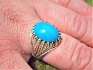 Sterling Silver 925 Geniun Persian Neshabori Hussainy Turquoise Ring 9.  78 - Gram photo