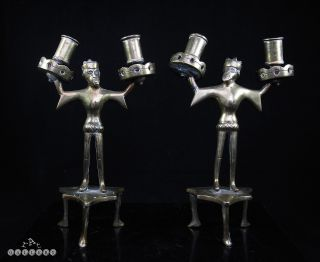 German / Flemish 15th C.  Medieval Gothic Revivall Bronze Candlesticks - 19th C. photo