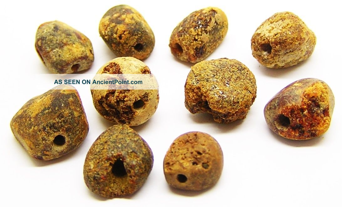 Group Of 10 Early Bronze Age Amber Beads C.  1900 - 1600 Bc Beaker Culture Neolithic & Paleolithic photo