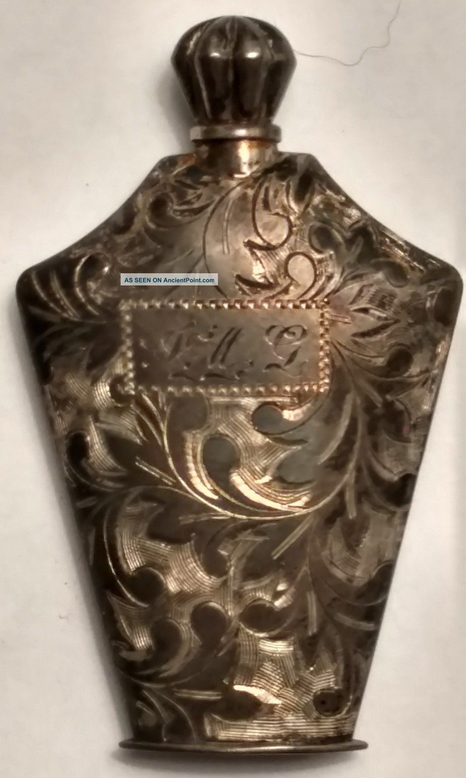 Antique Sterling Silver,  Ornately Engraved Perfume Bottle Bottles, Decanters & Flasks photo