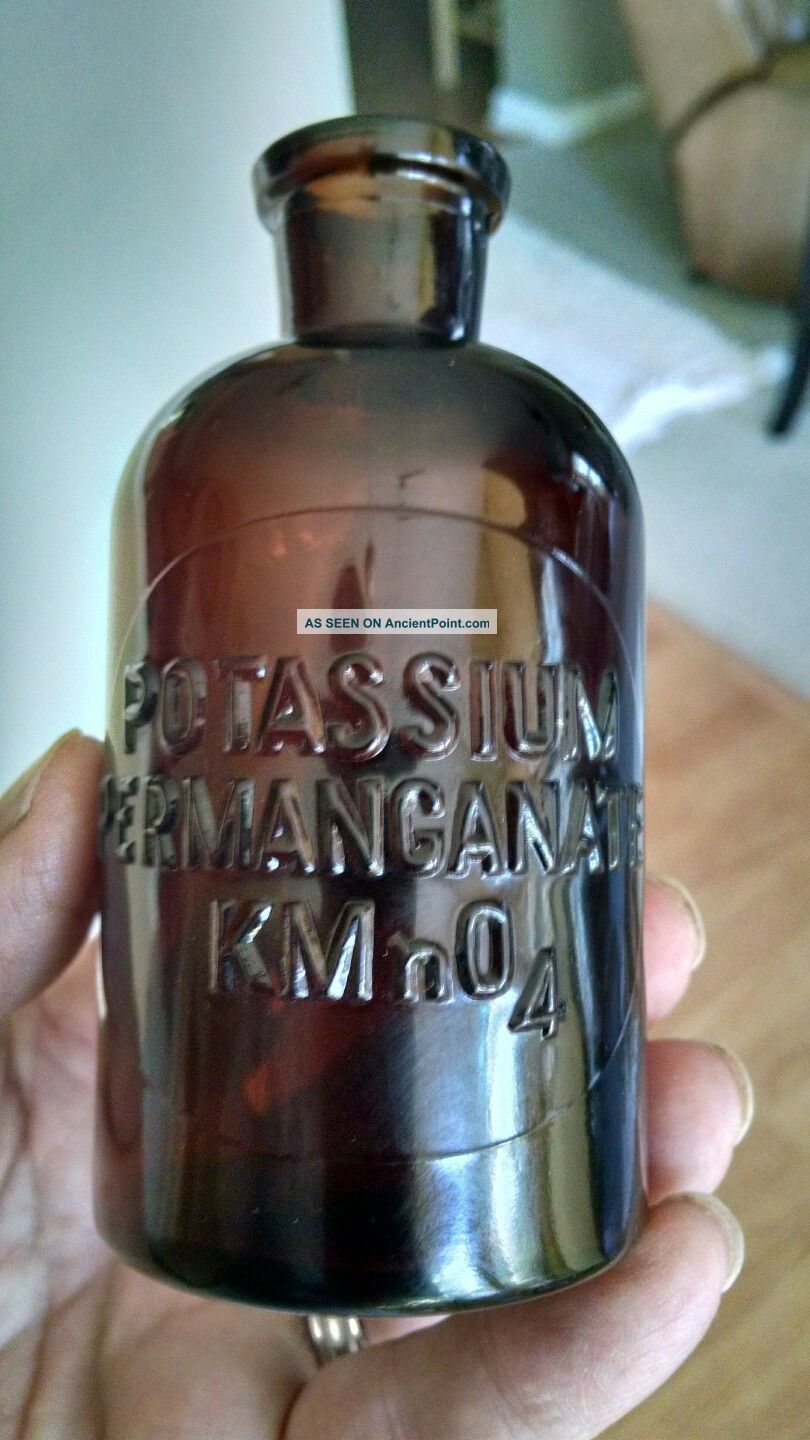 Antique Potassium Permanganate 125ml Lab Reagent Apothecary Science Chemistry Bottles & Jars photo
