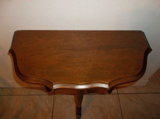 Vintage Antique Scallopped Half Moon Wood Side End Table Entry Console 22